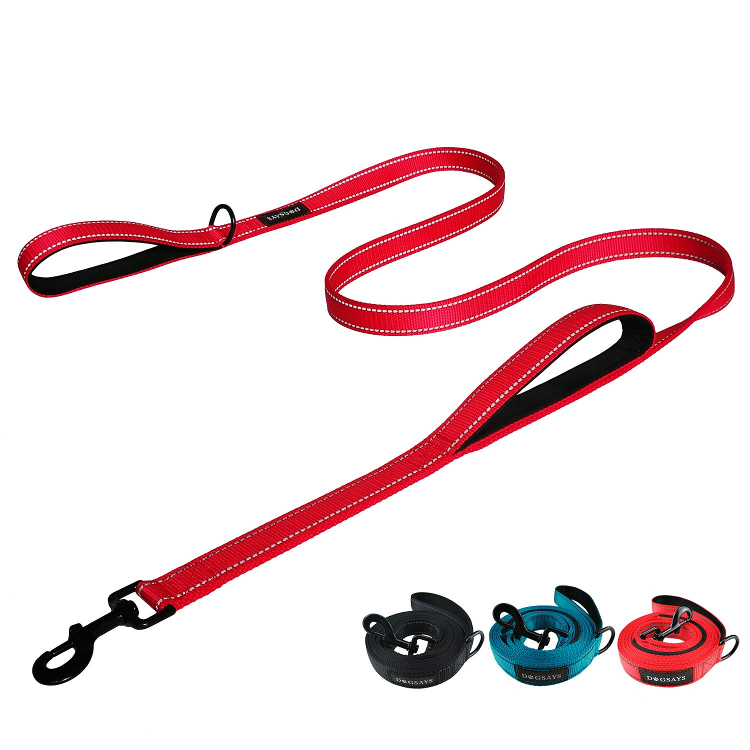 DOGSAYS Dog Leash 6ft Long - Traffic Padded Two Handle - Heavy Duty - Double Handles Lead for Control Safety Training - Leashes for Large Dogs or Medium Dogs - Reflective Nylon