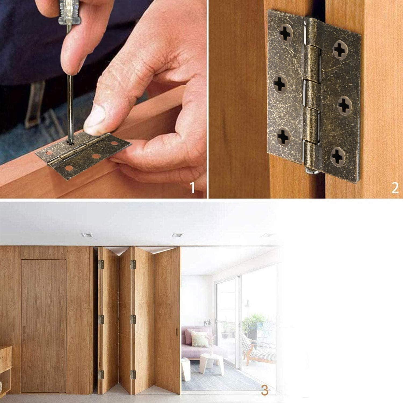 charni/ères pliantes /épaisses pour meubles de maison 75 mm en bronze charni/ère charni/ères de porte en bois pour portes int/érieures et ext/érieures. Lot de 10 charni/ères de porte r/étro