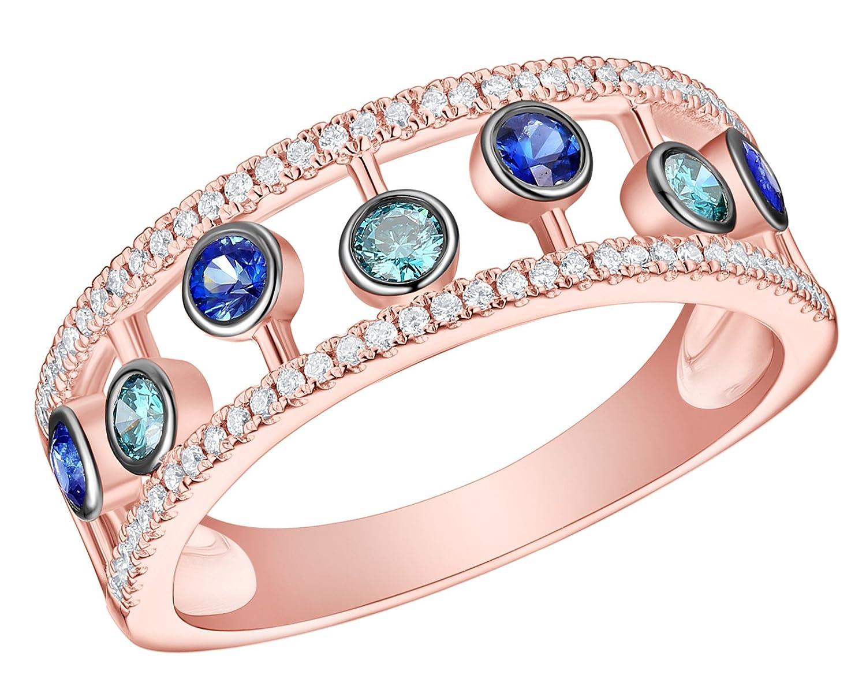 Prism Jewel 0.54Ct Sapphire With Blue /& White Diamond Bubble Vine Ring FR0336