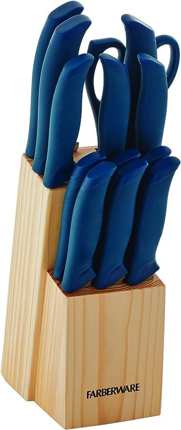 Amazon Com Farberware Soft Grip Knife Block Set 14 Piece Navy Kitchen Dining