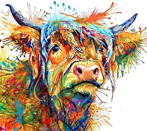 Lsgepavilion Coloré Vache Sur Toile Peinture Murale Art Déco
