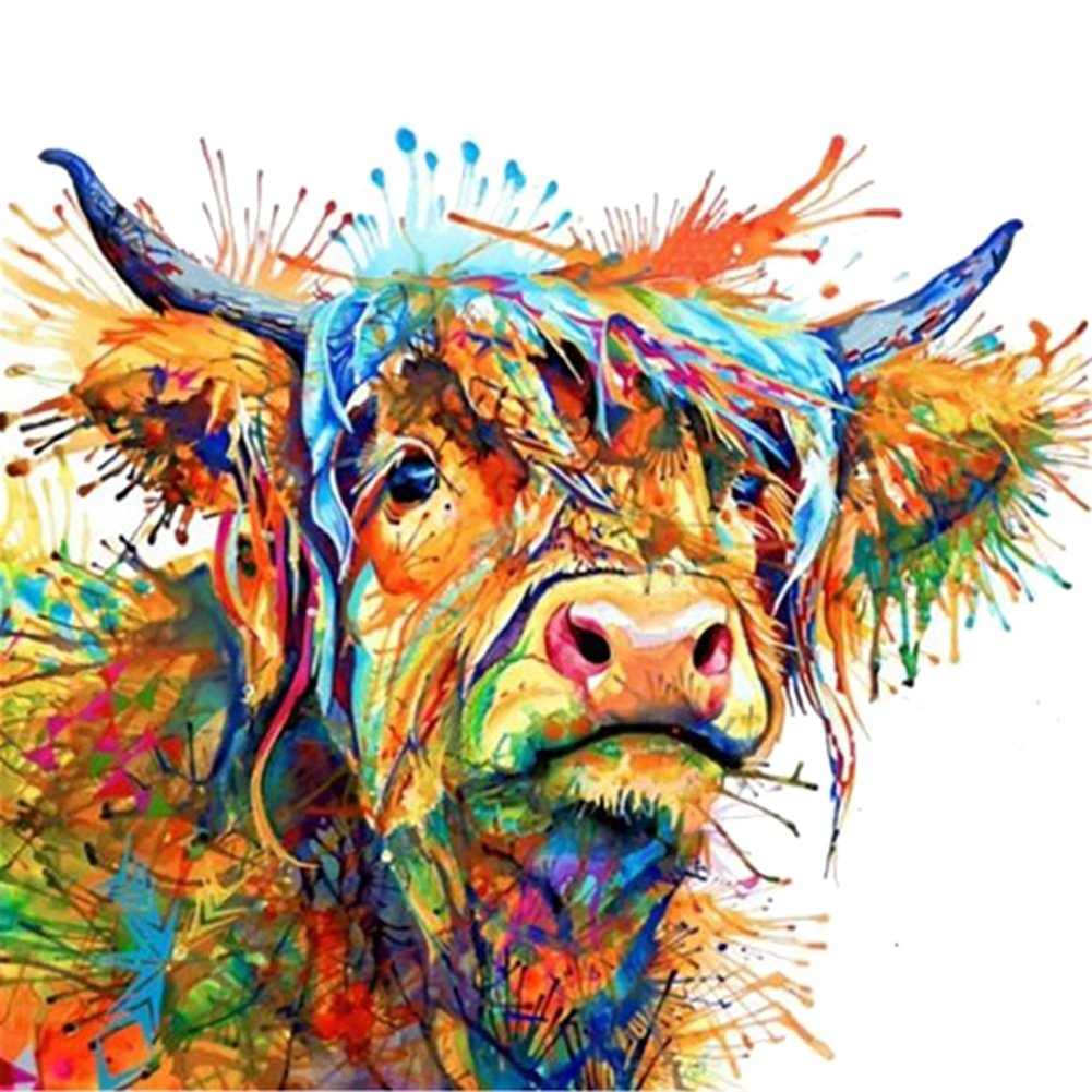 angel3292 Colorful Cow Decorative Canvas Painting Wall Art Living Room Bedroom Home Decor