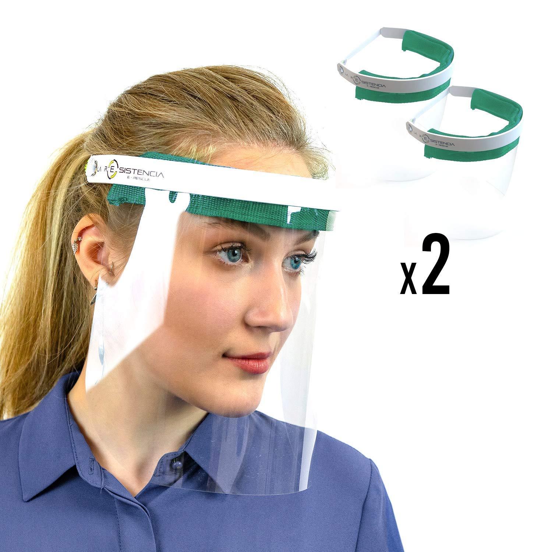 Protector Pantalla Facial, Visera, Pack de 2 dde Alta Calidad, de color Verde, para la seguridad de la cara, cómodo y ajustable, fabricado en españa (2 unidades, Verde)