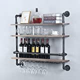 Industrial Pipe Shelf Wine Rack Wall Mounted with 9 Stem Glass Holder,36in Real Wood Shelves Kitchen Wall Shelf Unit,3-Tiers