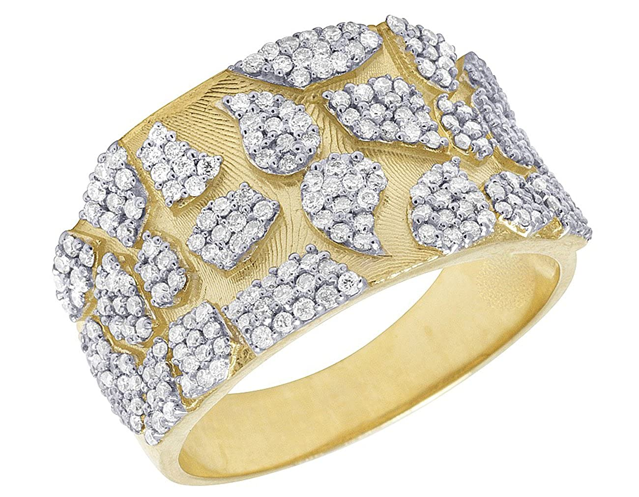 Jalash Prong Setting Mens Ring with Round CZ Diamonds in Yellow Gold Plating Gift for His