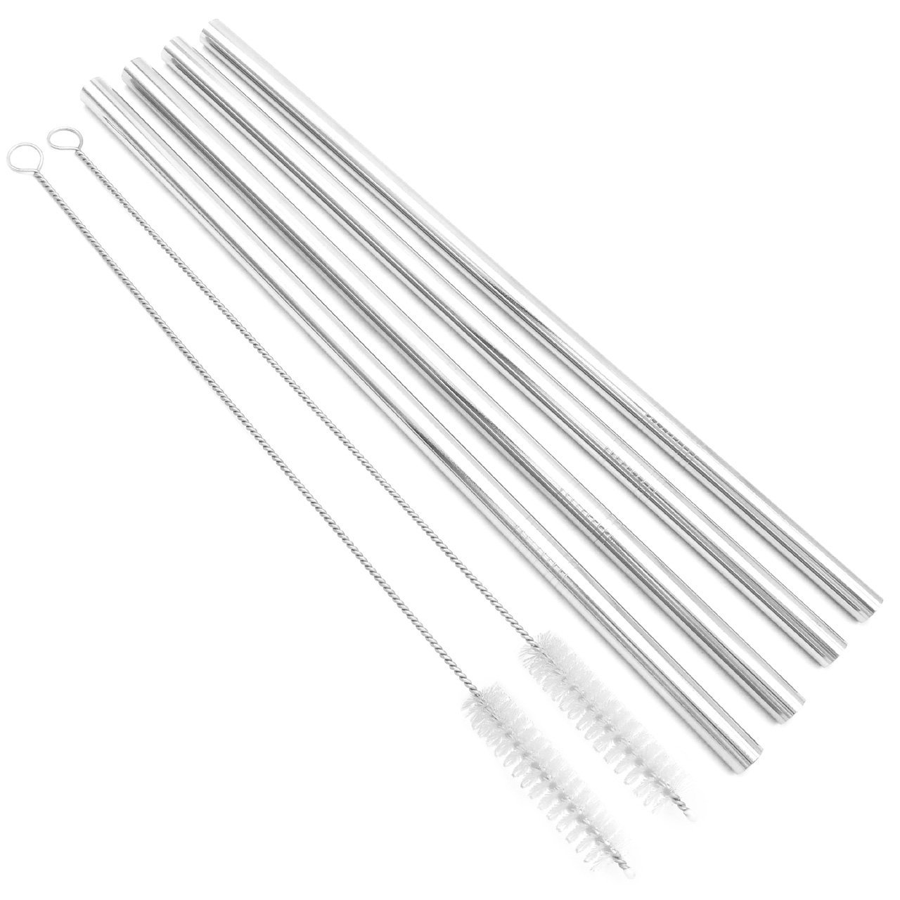 Straight SSDS305X9 Big Drinking Straws Reusable 12 Extra Long 9mm Extra Wide SUS 304 Food-Grade 18//8 Stainless Steel Set of 4 with 2 Cleaning Brushes