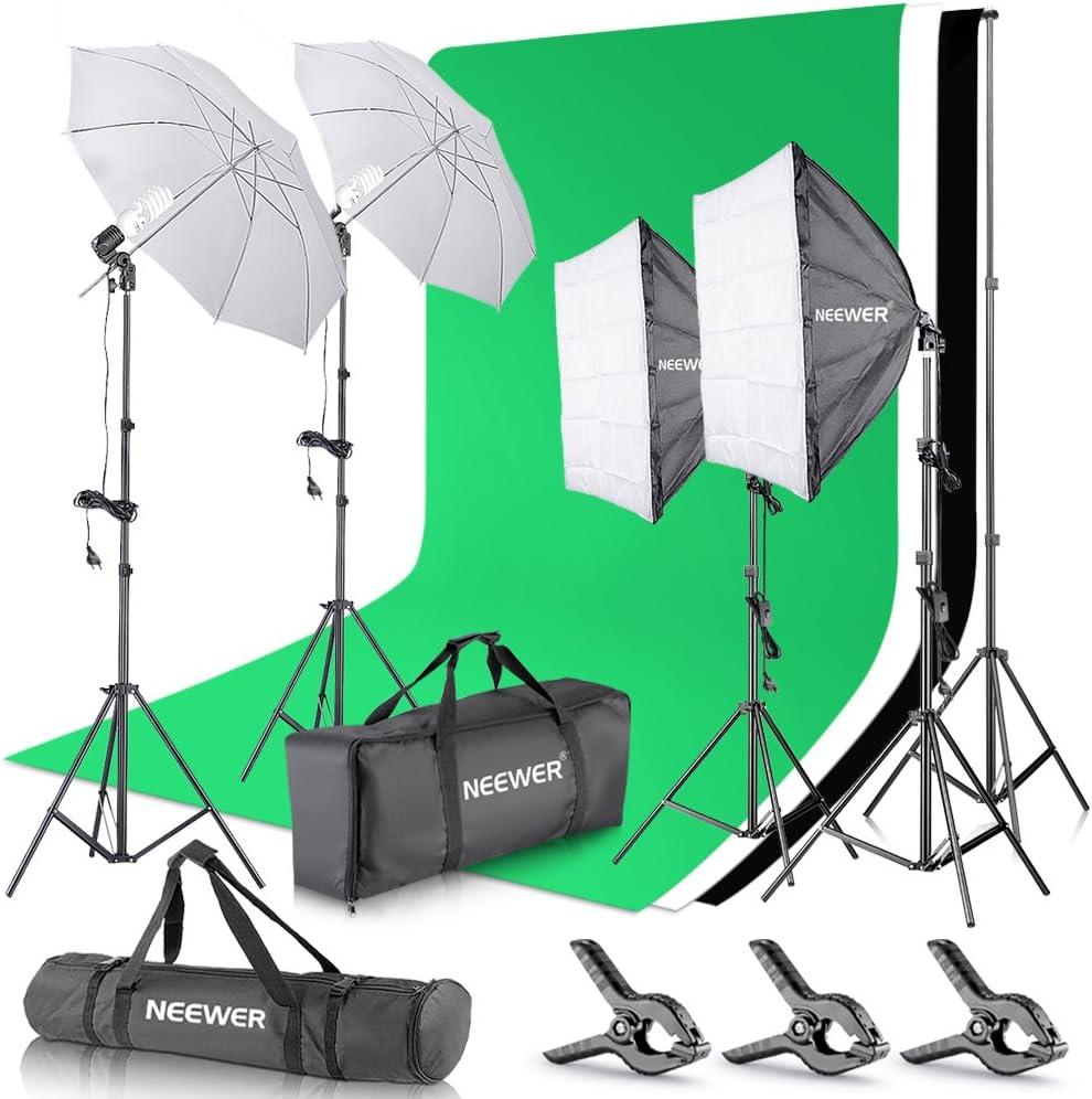 Neewer Set para Estudio fotográfico y producción de vídeo, Sistema de Soporte de 2,6 m x 3 m con Fondos, reflectores Tipo Paraguas y softbox de 800 W y 5500 K: Amazon.es: Electrónica
