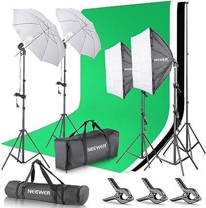 Todo para el streamer: Neewer Set para Estudio fotográfico y producción de vídeo, Sistema de Soporte de 2,6 m x 3 m con Fondos, reflectores Tipo Paraguas y softbox de 800 W y 5500 K