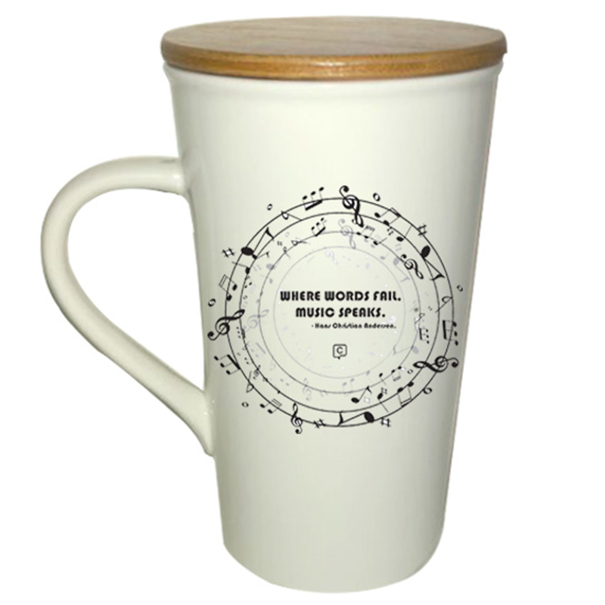 Musician ; Music Lover ; Music Teacher ; Music Mug; Unique for Musician; ''Where Words Fail Music Speaks'' Hans Christian Andersen Quote; 16 Ounce Ceramic Mug with Bamboo Top/Coaster by Chitchat Gifts