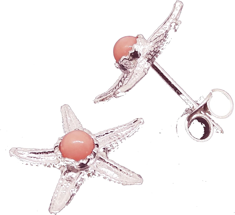 El Coral Pendientes Coral Rosa Bolita y Estrella de Mar Filigrana Plata