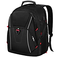 Laptop College Backpack 17.3 inch Waterproof USB Charging Port Large Business Travel Book School Bag for College Mens Women Black