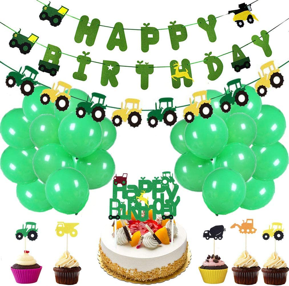 50 Pieces Farm Tractor Theme Party Decorations include Tractor Happy Birthday Banner Tractor Garland Cupcake Toppers Balloons Green Tractor Construction Party Supplies and Favors for Girls Boys Kids 1st 2nd 3rd 4th Birthday Decoration
