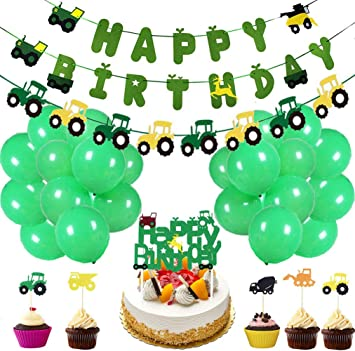 50 Pieces Farm Tractor Theme Party Decorations Include Tractor Happy Birthday Banner Tractor Garland Cupcake Toppers Balloons Green Tractor