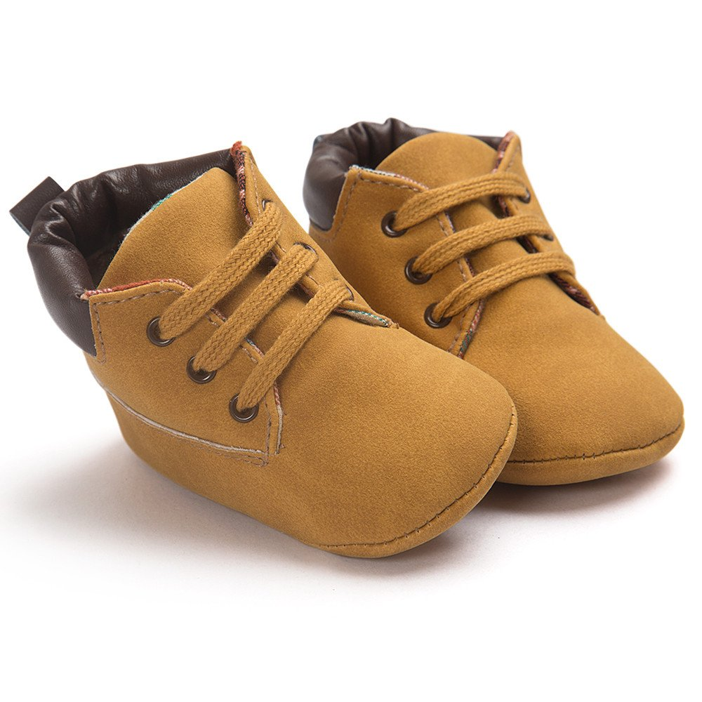 Baby Toddler High-Top Sneaker Soft Sole Leather Shoes Infant Boy Girl Winter Warm Shoes Lace Up Anti-Slip Snow Boots