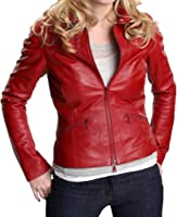 UNICORN Womens Red Waxed Real Leather Jacket Z3 at Amazon Women&39s