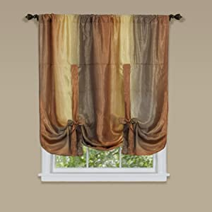 Achim Home Furnishings Ombre Tie up Shade Window Curtain, 50