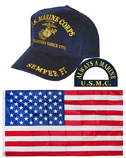 5e71fe7cf08 U.S. Marine Corps A Tradition Since 1775 Navy Blue Embroidered Hat   USA  Flag 3x5 Flags