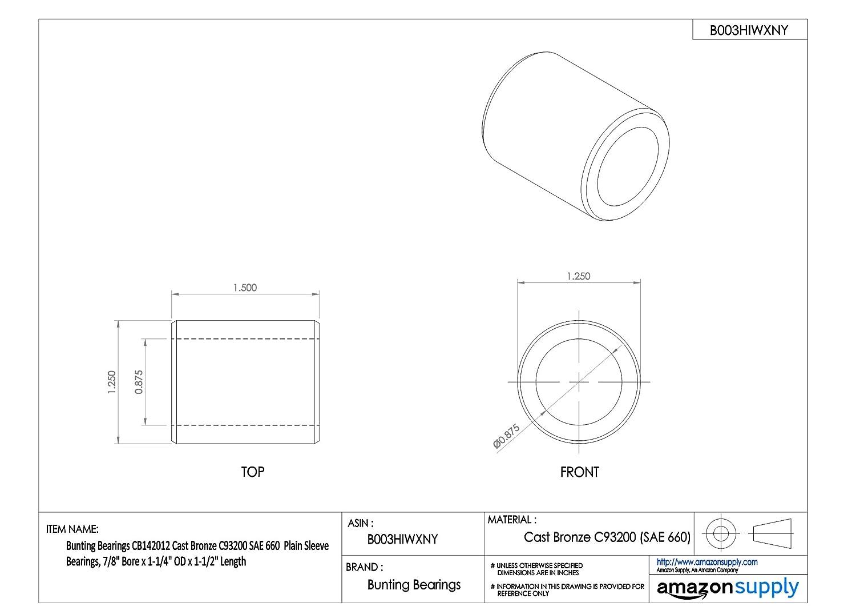 Plain Bearings Bunting Bearings TMCB141616 Sleeve 7//8 Bore x 1 OD x 2 Length Cast Bronze C96900