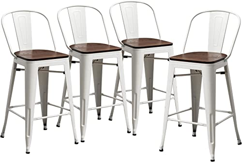 Yongqiang 26″ Metal Bar Stools Set of 4 High Back Bar Stools Counter Height Chairs Dining Bar Chair