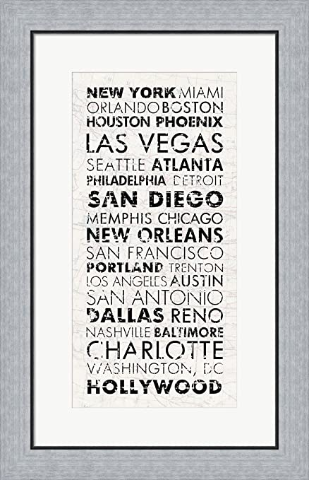 Amazon.com: USA Cities White by Veruca Salt Framed Art Print Wall ...