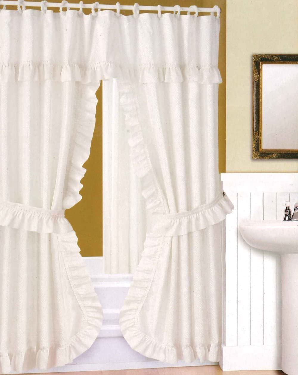 Amazon.com: DOUBLE SWAG SHOWER CURTAIN, LINER & RINGS , White by