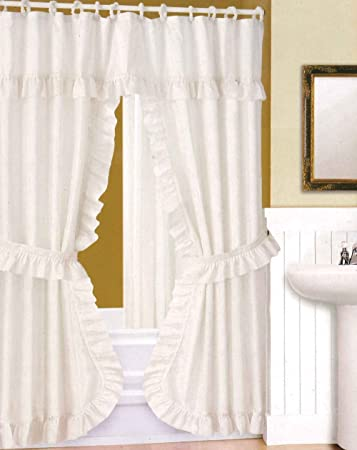 Amazoncom Double Swag Shower Curtain Liner Rings White By