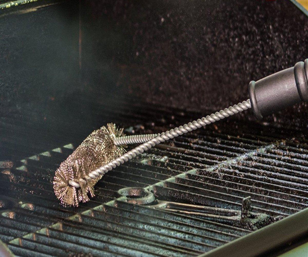 BBQ Barbacoa cepillos Gas /Ideal para Weber minleer extra larga profesional de barbacoa cepillo PP de aislamiento t/érmico Mango Barbacoa cepillo con cerdas de acero inoxidable/ 18 Carb/ón vegetal y infrarrojos barbacoas