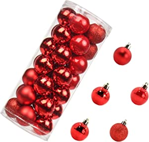 35pcs Christmas Balls Ornaments Various Sizes Shatterproof Ornaments Balls for Holiday Wedding Party Decoration Christmas Tree Hanging Ball Size 1.63 inches ~ 6.12 inches (Red, 40mm/1.63