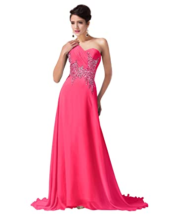 Womens Ruches Bodice Hot Pink Prom Dresses Size 16