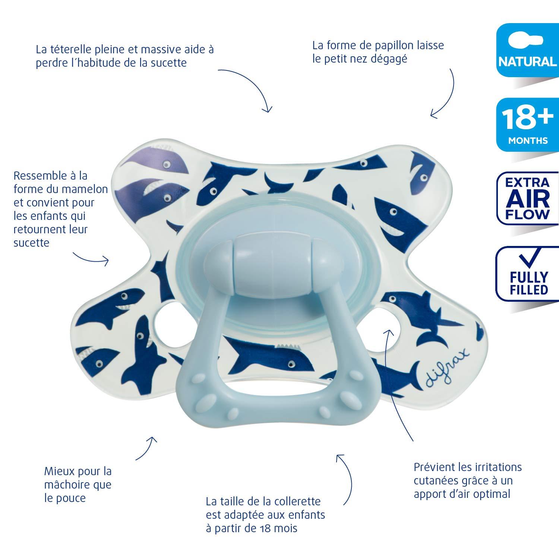 Difrax 802 - Chupete Natural B01 Para Niños De 18 Meses Azul ...