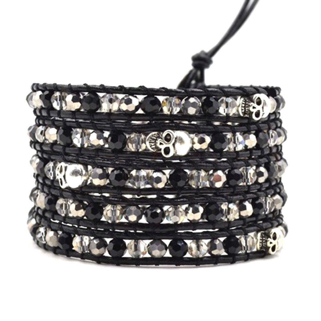 Skull Beaded Wrap Bracelet Genuine Leather Handmade 5 Multilayer 4mm Beads Woven Bangle Boho Style (Black & Silver Crystal)