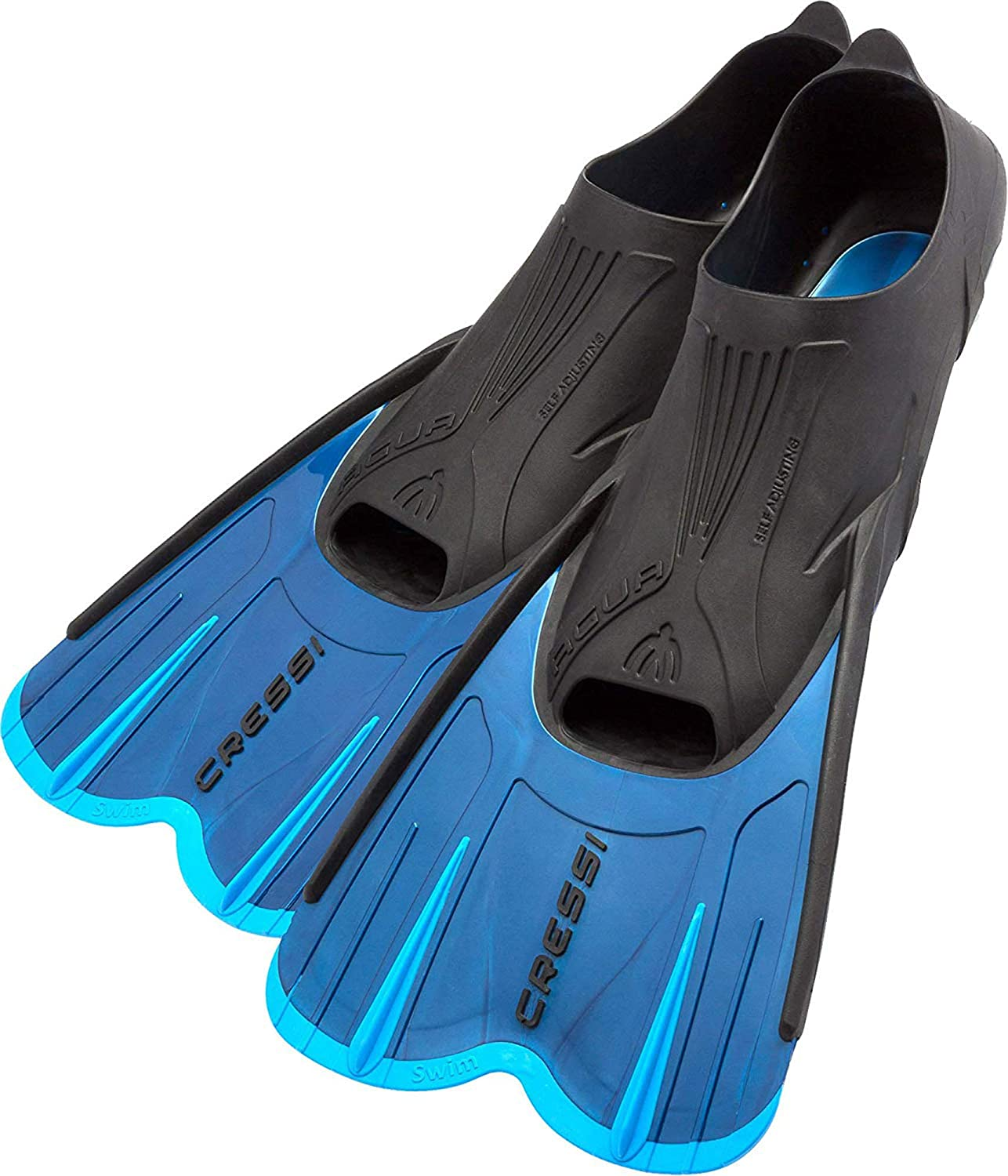 Cressi Adult Short Light Swim Fins with Self-Adjustable Comfortable Full Foot Pocket Made in Italy Perfect for Traveling Agua Short