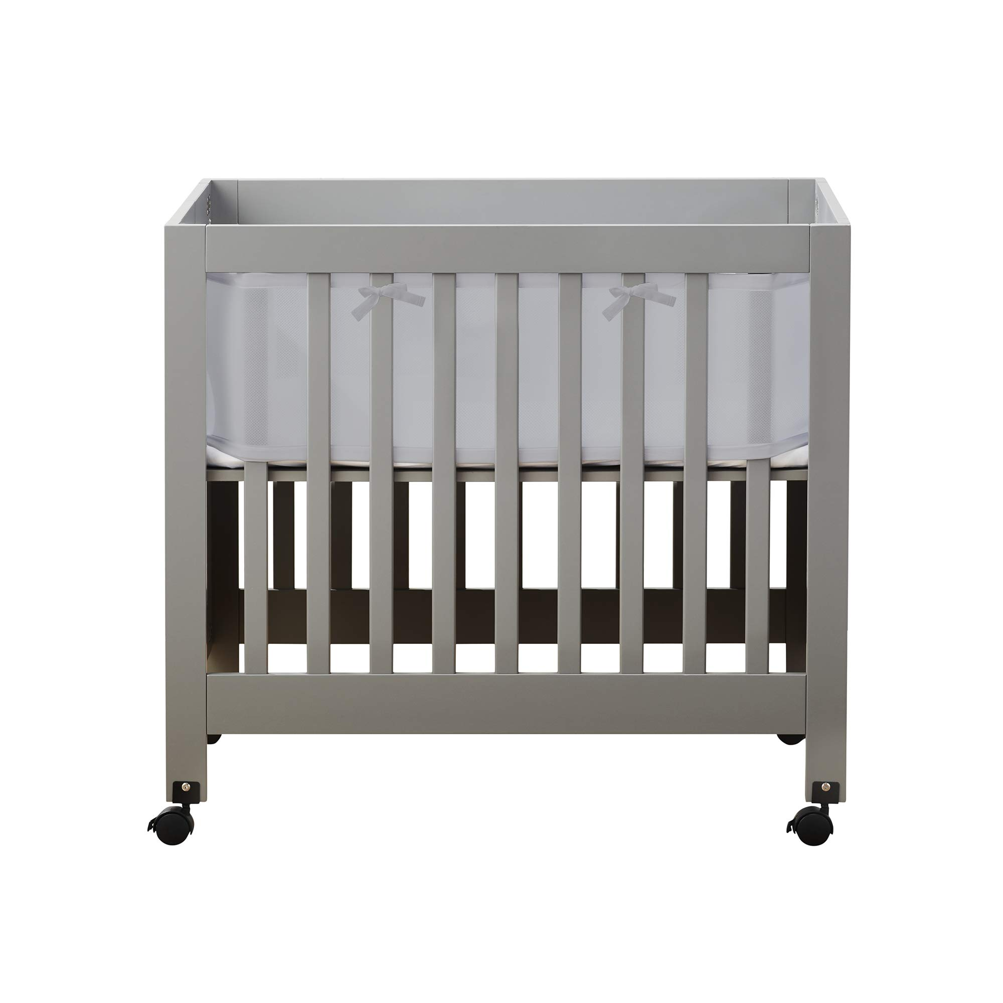 BreathableBaby Classic Breathable Mesh Mini Crib Liner - Gray by BreathableBaby