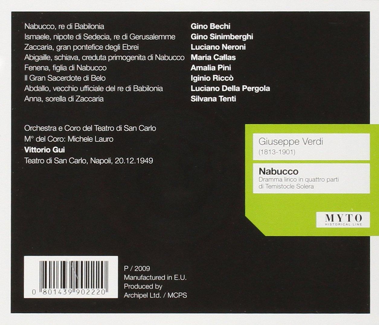 Nabucco Grabacion Completa 1949: Callas/Sinimberghi/Neroni/Pini/San Carlo Neapel, VERDI: Amazon.es: Música
