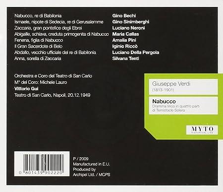 Nabucco Grabacion Completa 1949: Callas/Sinimberghi/Neroni/Pini ...