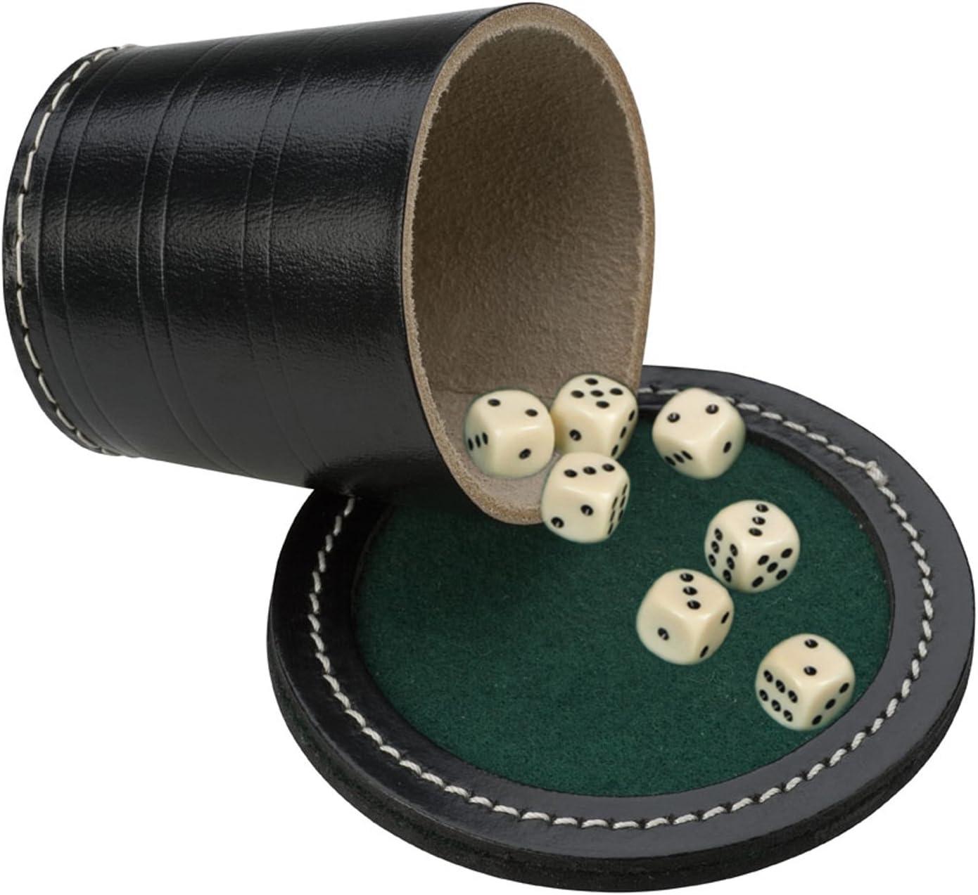 Engelhart H.O. B.V. 3006099cm Cuero Negro Poker Taza con Tapa Incluye 18mm 6Dados