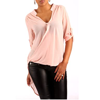 neuartiges Design super günstig im vergleich zu retro Made Italy Damen Vokuhila Bluse in Wickel-Optik Transparent Freizeit Strand  Longshirt