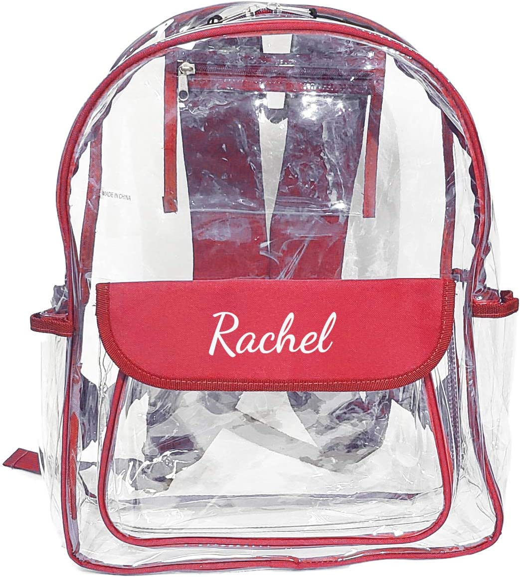 Custom Personalized Vinyl Transparent Clear Backpack Security Travel Sport Events Embroidered Name with Red Trim