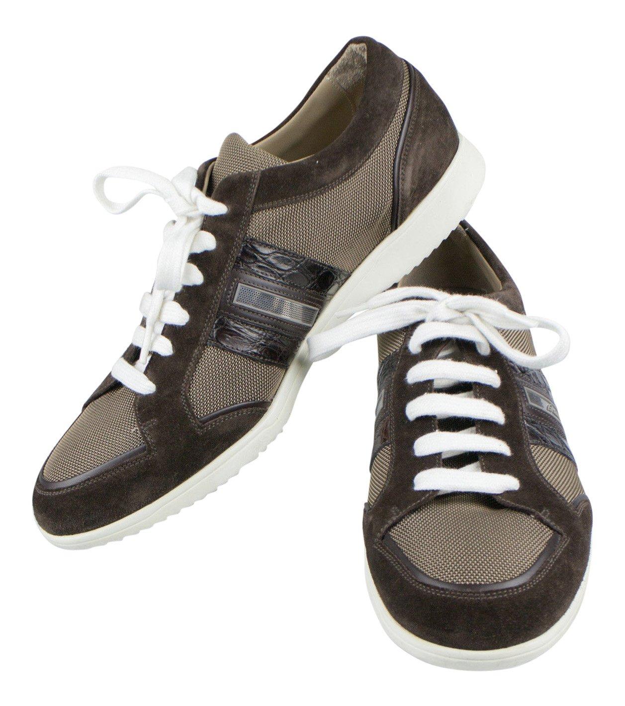 Brioniブラウンスエード/キャンバスwithクロコダイルレザースニーカー靴サイズ11 / 44   B01K3YW8HK