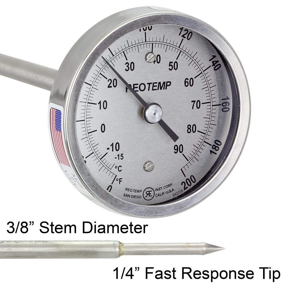 REOTEMP Super Duty Compost Thermometer with Fast Response - Dual Scale C & F (48 Inch Stem)