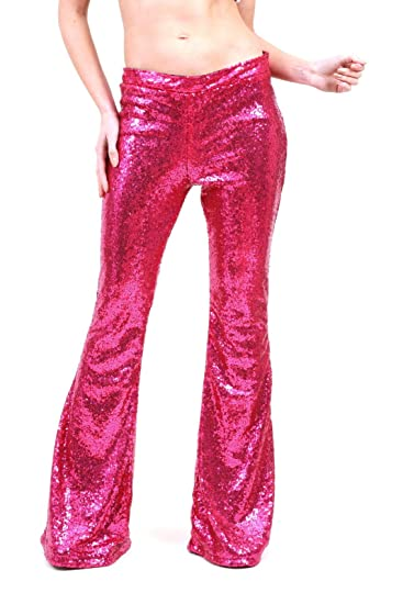 bb05100868129e AZZAVERA Fushia Pink Sequin High Waist Flare Pants Bell Bottoms Wide Leg  Long Palazzo Yoga Harem