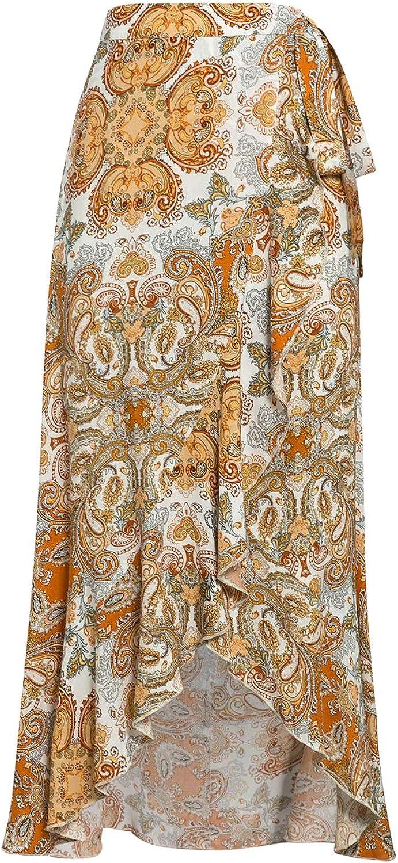 Sollinarry Womens High Waist Boho Floral Print Long Wrap Skirt Tie Side Split Ruffle Maxi Skirt