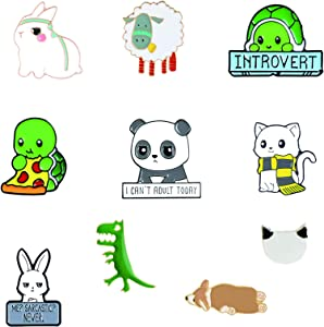 10 PCS Cute Animal Enamel Pin Set | Cute Animal Food Brooches Clothes Accessories Gifts