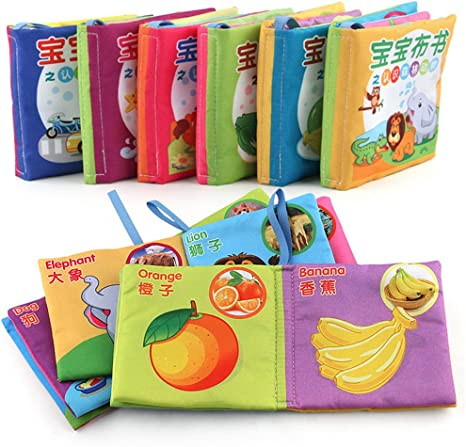 6 in 1 Pack Baby Fabric Book Early Education Toys Chinese-English Bilingual Learning Toys Baby Non-Toxic Cloth Book Washable Williant-Brilliant
