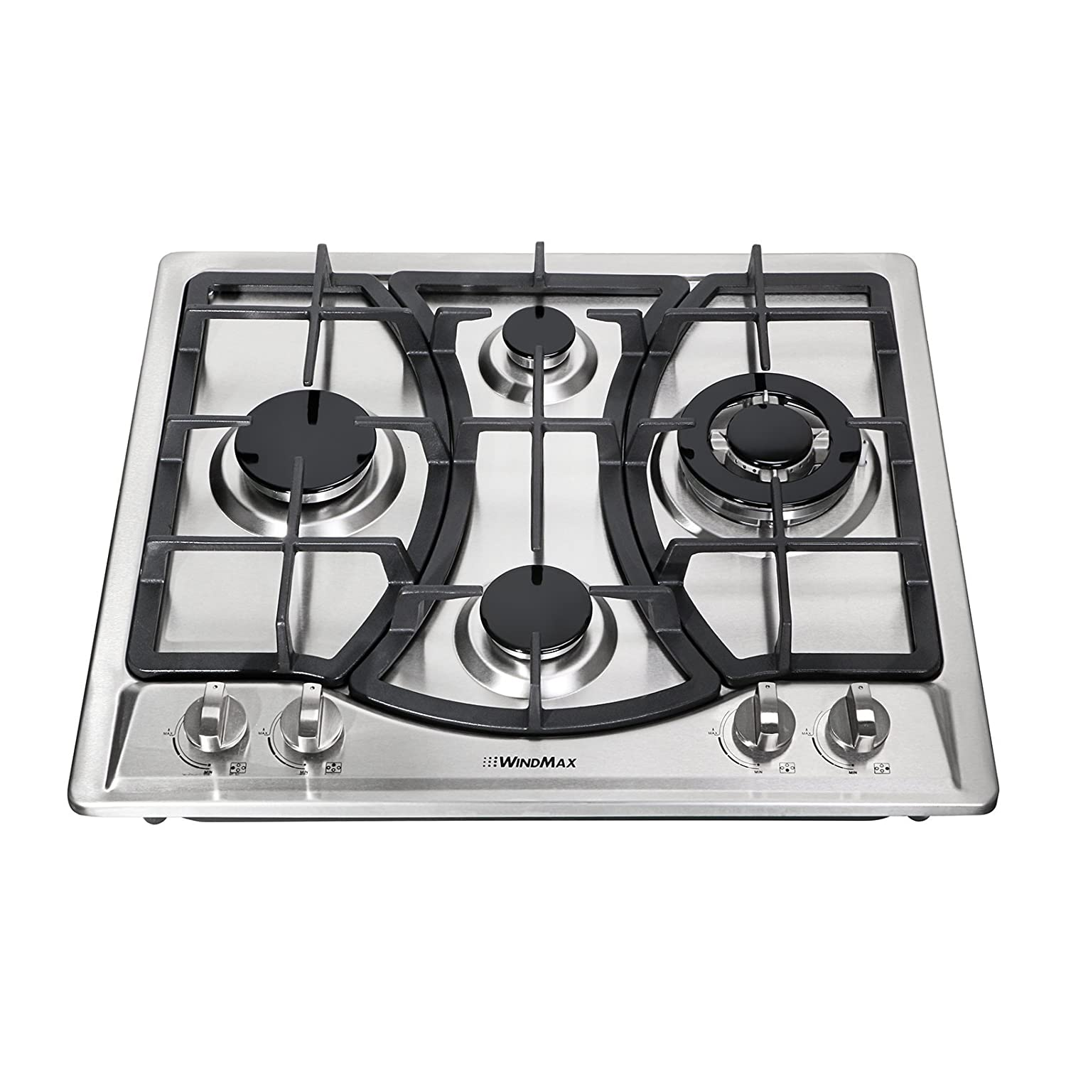 Windmax 23 Curve Stainless Steel 4 Burner Stove NG/LPG Hob Cooktops Cooker 46013