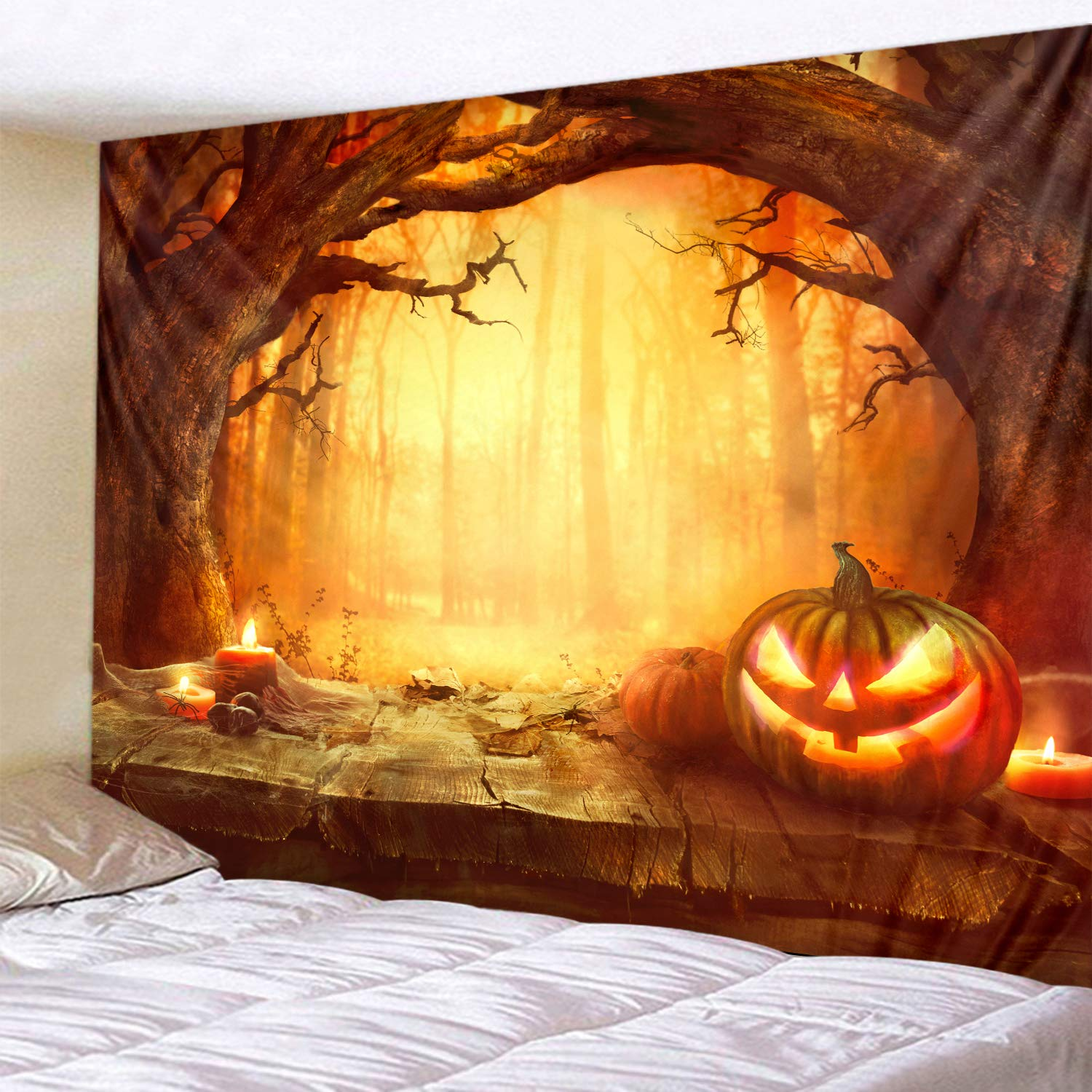 Halloween Orange Grove Pumpkin Print Decorative Throw Fabric Tapestry Wall Hanging Art Decor for Living Room and Bedroom 79 x 59 Inches