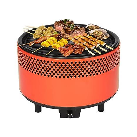 Barbacoa de carbón vegetal, de mesa, con ventilación, para balcón y terraza, naranja oscuro