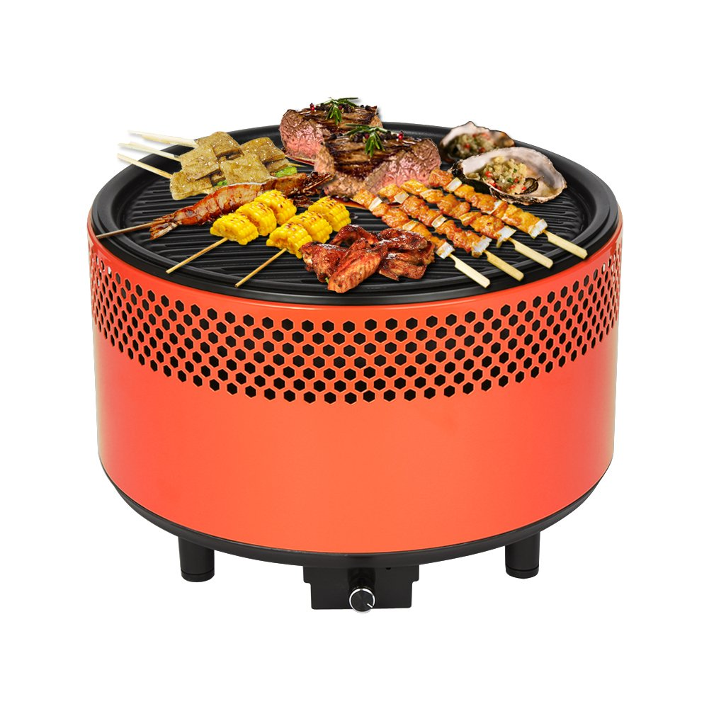 Kbabe Portable Charcoal BBQ Smokeless Grill – Ultimate Electric Outdoor Barbecue Grill, Easy-To-Use & Carry Compact Barbecue Grill For Backyard, Camping & Picnics, Built-in Fan & Powder-Coated Steel