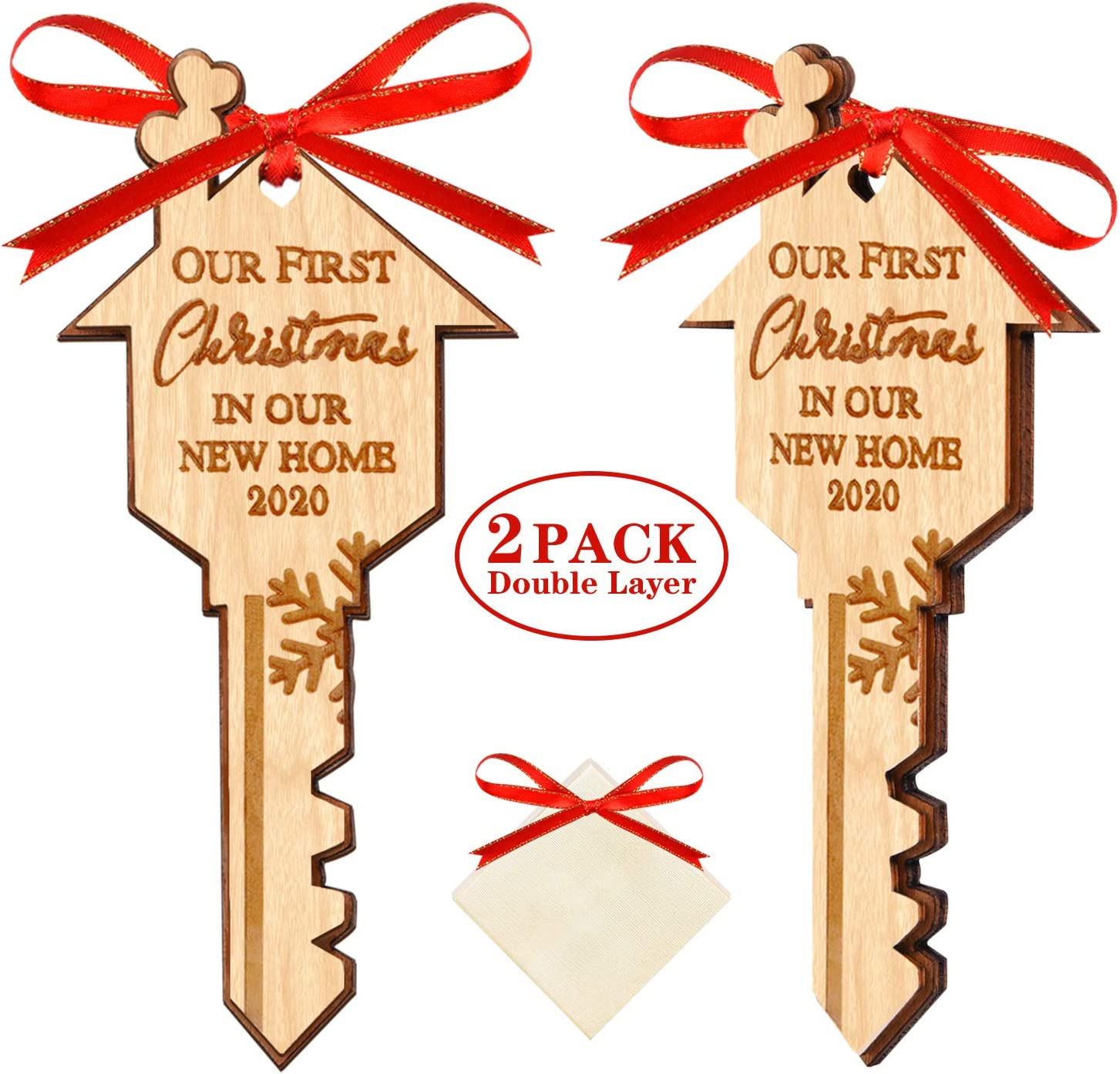 Our First Christmas in Our New Home 2020 Double Layer Christmas Wood Ornaments with Gift Box for Housewarming Xmas Tree Hanging Decoration - 2 Pack