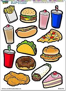 Fast Junk Food - Pizza Hot Dog Cake Burger Fries Soda Slap-STICKZ(TM) Party Scrapbook Craft Car Window Locker Stickers